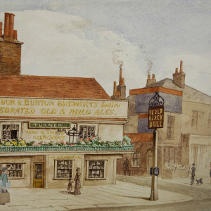 View of the Old Black Bull Public House in Stratford, Newham